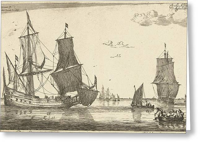 Backwater With A Flute Ship, Reinier Nooms Greeting Card