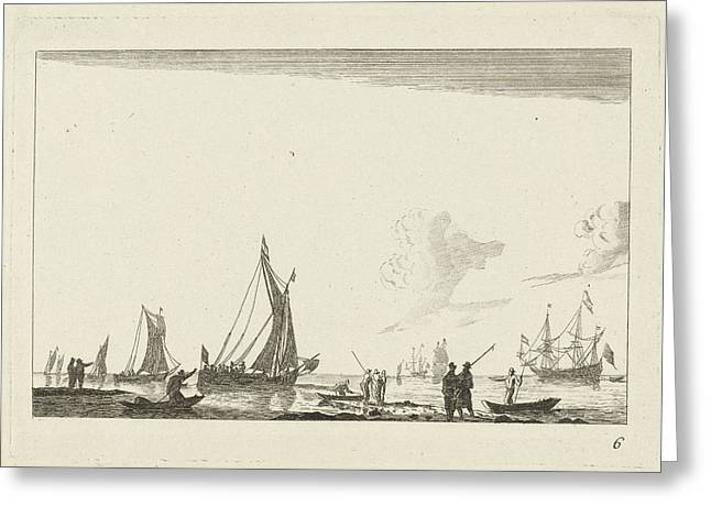 Backwater With Several Sailing Ships, Anonymous Greeting Card by Anonymous And Reinier Nooms
