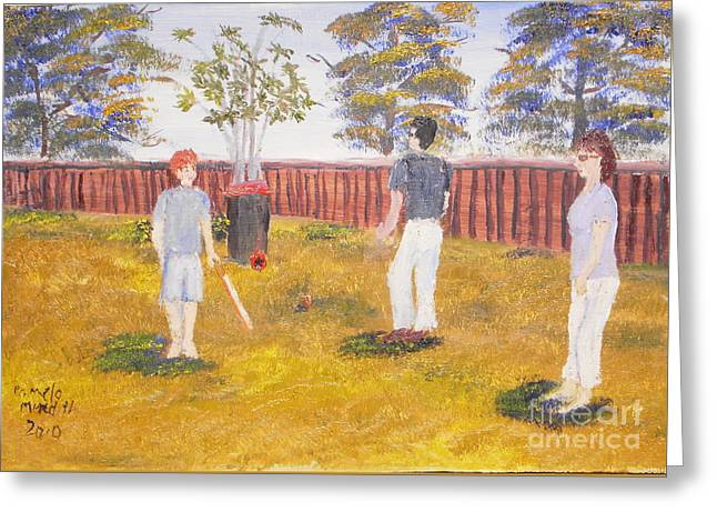 Greeting Card featuring the painting Backyard Cricket Under The Hot Australian Sun by Pamela  Meredith