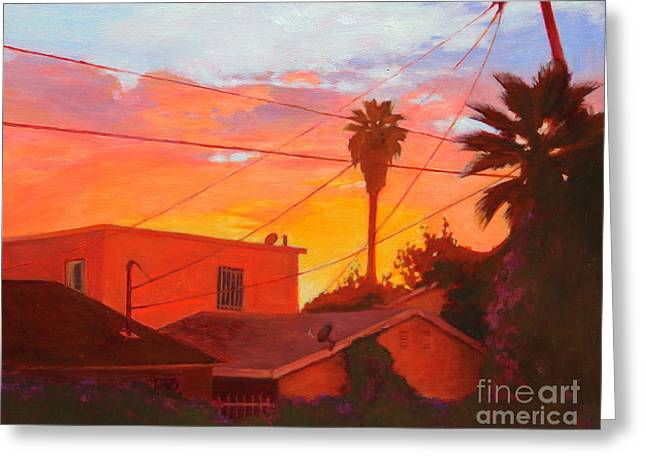 Greeting Card featuring the painting backyard in East LA by Andrew Danielsen
