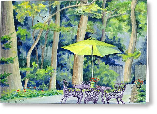Greeting Card featuring the painting Backyard Retreat by Dan Redmon