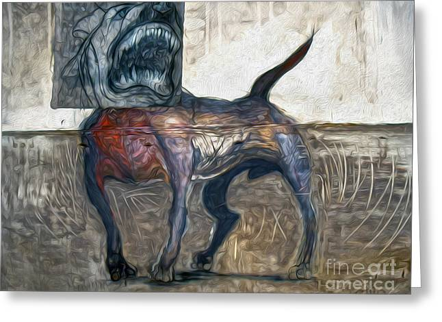 Bad Dog Greeting Card by Gregory Dyer