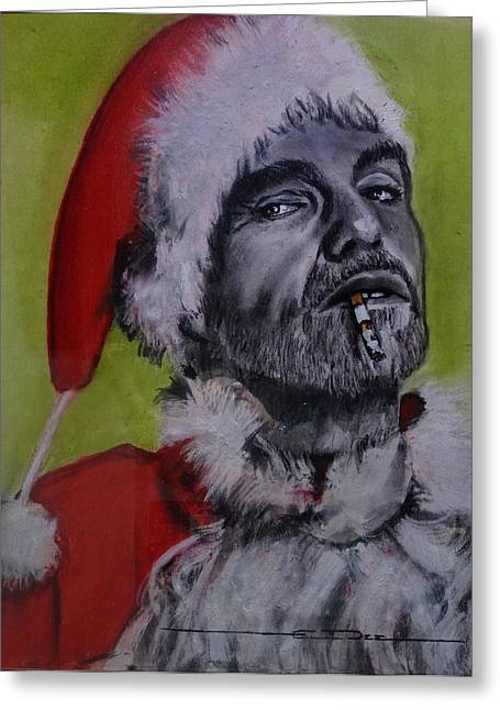 Greeting Card featuring the painting Bad Santa by Eric Dee
