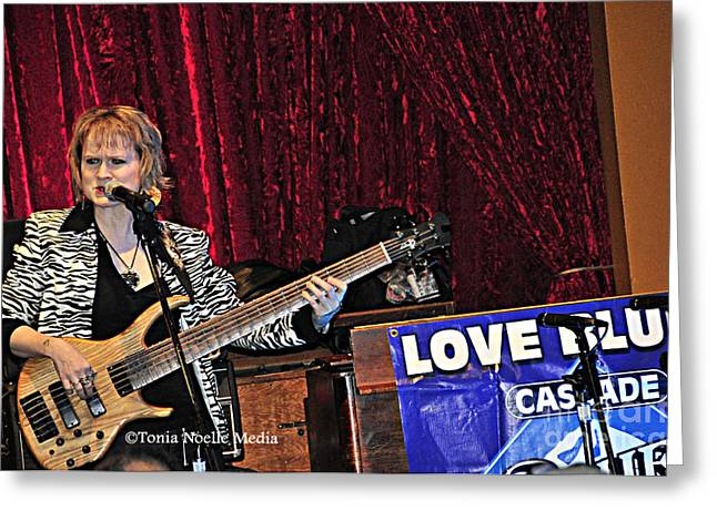 Greeting Card featuring the photograph Badass Blues Bassist Lisa Mann by Tonia Noelle