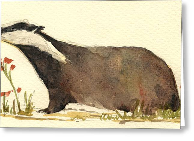 Badger And Flowers Greeting Card by Juan  Bosco