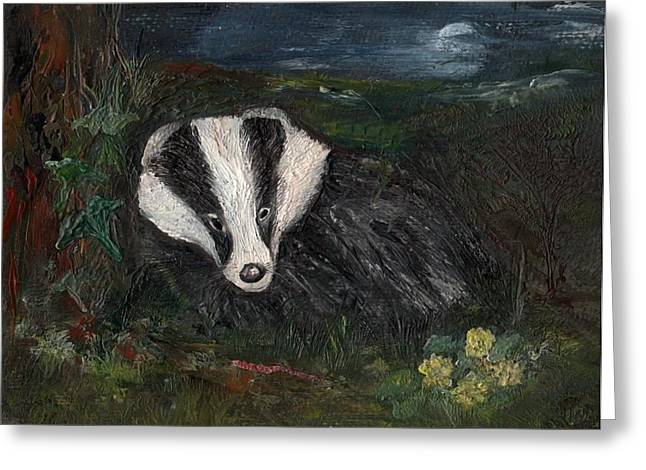 Badger Greeting Card by Carol Rowland