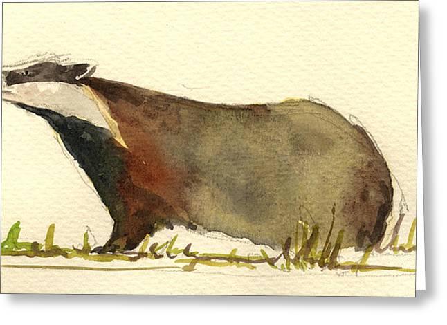 Badger Grass Greeting Card by Juan  Bosco
