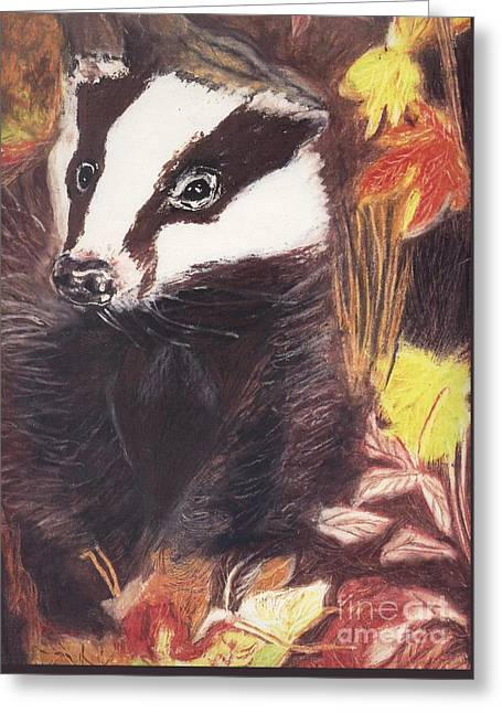 Badger In The Fall. Greeting Card by Ann Fellows