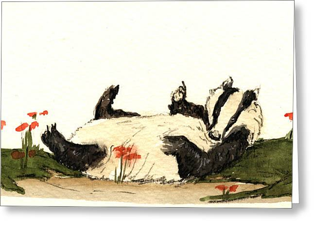 Badger Greeting Card by Juan  Bosco