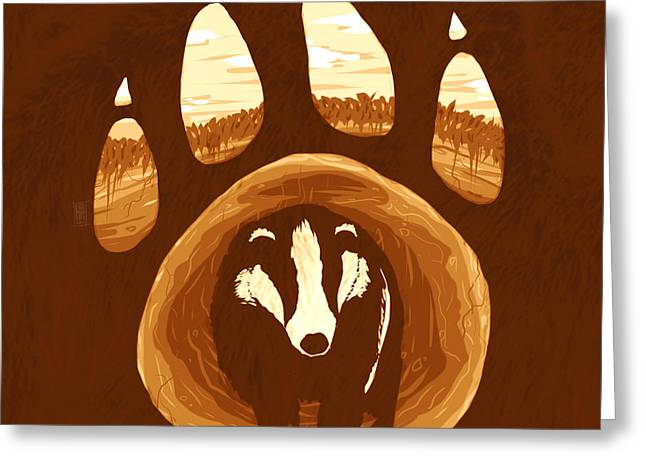 Badger Paw Greeting Card by Daniel Hapi