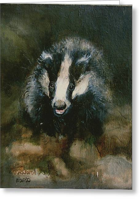 Badger Watching Greeting Card by Ellie O Shea
