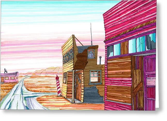 Greeting Card featuring the drawing Badlands Barbershop by Scott Kirby