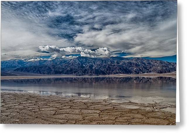 Badwater Reflection Greeting Card by Cat Connor
