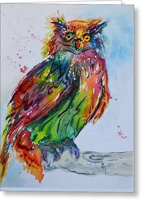 Baffled Owl Greeting Card by Beverley Harper Tinsley
