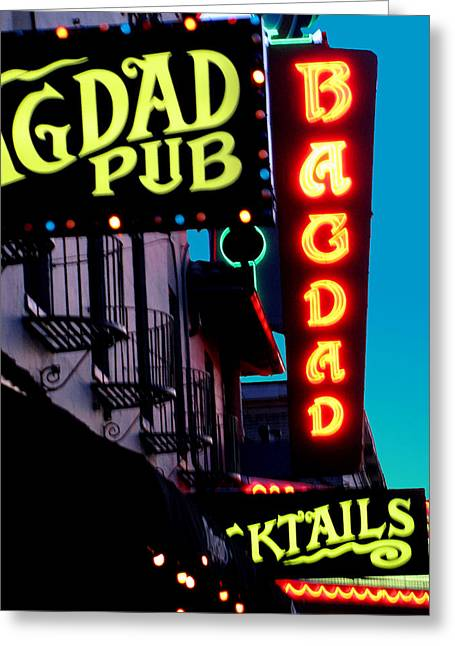 Bagdad Pub Greeting Card by Gail Lawnicki