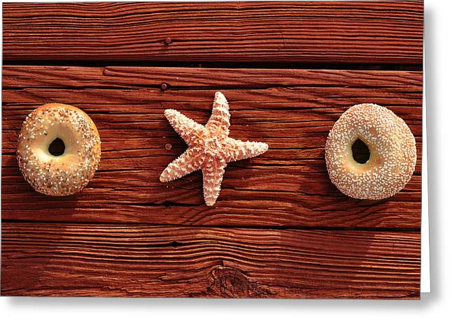 Everything Bagel Greeting Card by Laura Fasulo