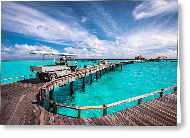 Baggy On The Jetty Over The Blue Lagoon Greeting Card by Jenny Rainbow