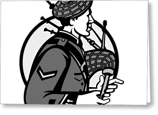 Bagpiper Bagpipes Scotsman Grayscale Retro Greeting Card