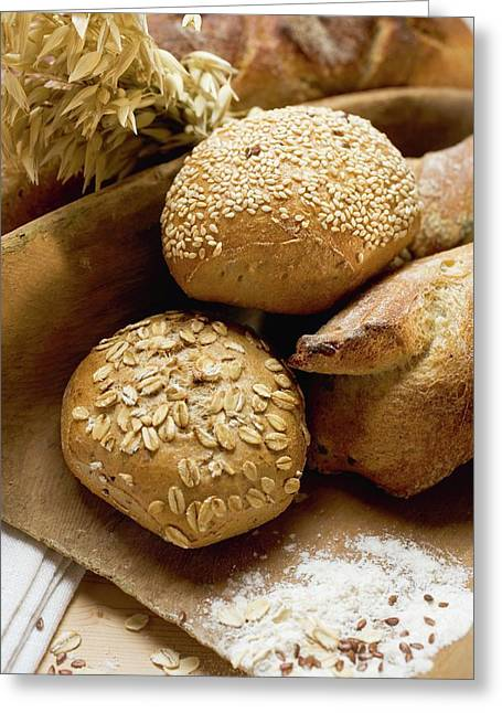 Baguettes And Wholemeal Rolls In Wooden Scoop In Front Of Tin Loaf Greeting Card