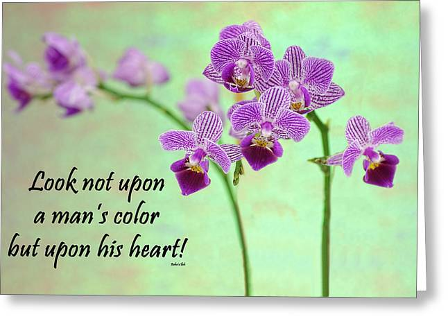 Bahai Purple Orchid Quote Greeting Card by Rudy Umans