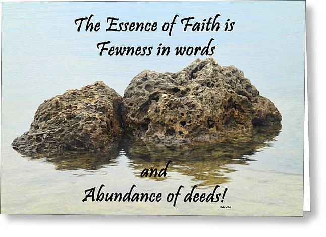 Bahai Quote On Rocks Greeting Card by Rudy Umans
