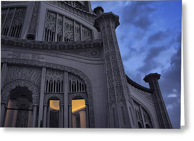 Greeting Card featuring the photograph Bahai Temple Detail At Dusk by John Hansen