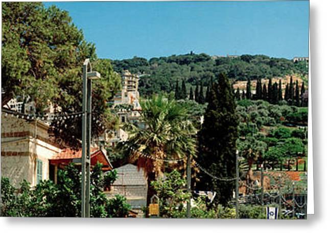 Bahai Temple On Mt Carmel, Haifa, Israel Greeting Card by Panoramic Images