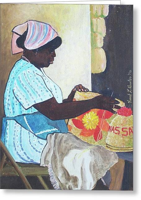Bahamian Woman Weaving Greeting Card by Frank Hunter