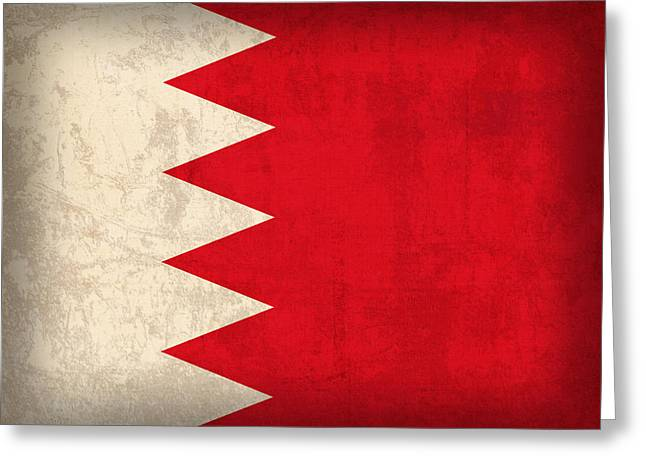 Bahrain Flag Vintage Distressed Finish Greeting Card by Design Turnpike