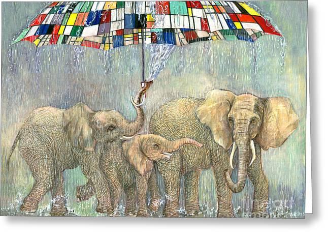 Bailando Bajo La Lluvia. Mondrian Umbrella Greeting Card by Nancy Almazan