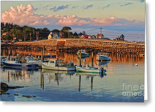 Bailey Island Bridge At Sunset Greeting Card by Patrick Fennell