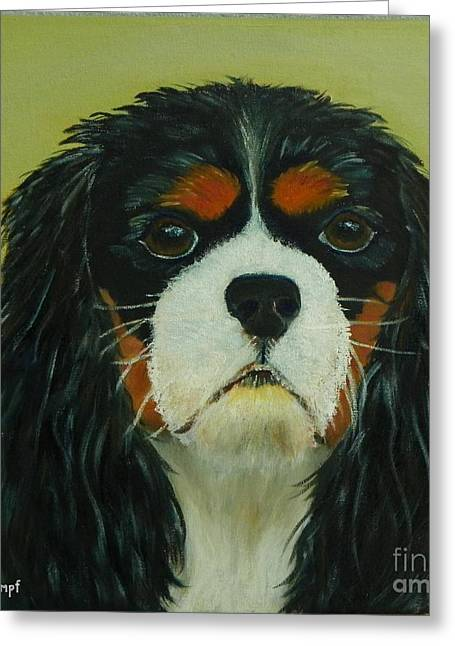 Greeting Card featuring the painting Cavalier King Charles Spaniel by Shelia Kempf