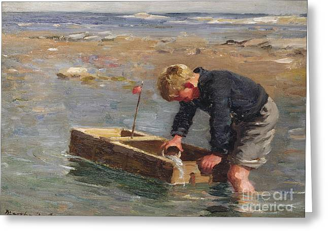 Bailing Out The Boat Greeting Card by William Marshall Brown