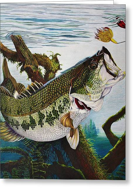 Baiting The Big One Greeting Card by Bruce Bley