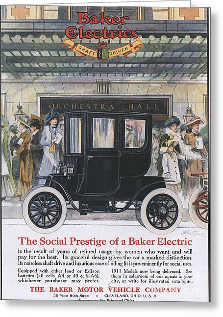 Baker Electric Cars 1910s Usa Greeting Card by The Advertising Archives
