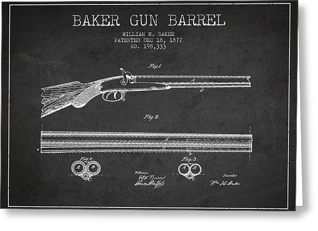 Baker Gun Barrel Patent Drawing From 1877- Dark Greeting Card