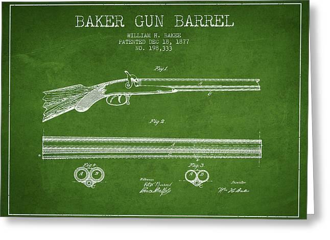 Baker Gun Barrel Patent Drawing From 1877- Green Greeting Card