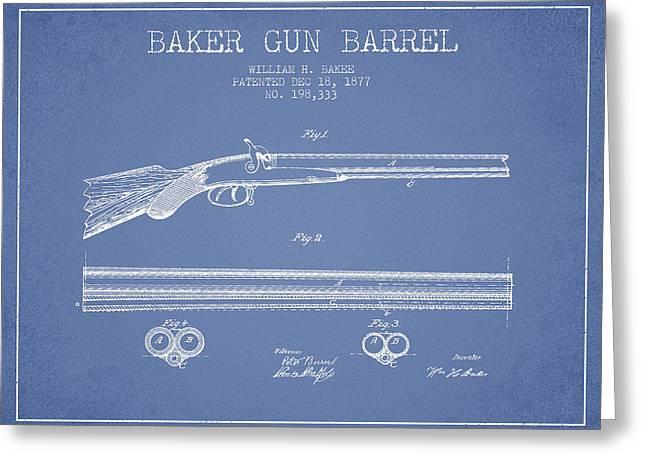 Baker Gun Barrel Patent Drawing From 1877- Light Blue Greeting Card