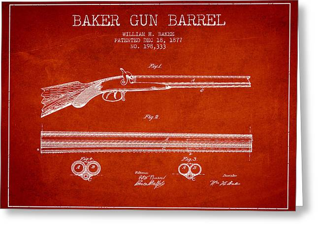 Baker Gun Barrel Patent Drawing From 1877- Red Greeting Card
