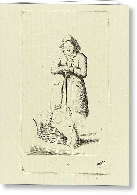 Baker With Basket Of Breads, Marie Lambertine Coclers Greeting Card by Marie Lambertine Coclers
