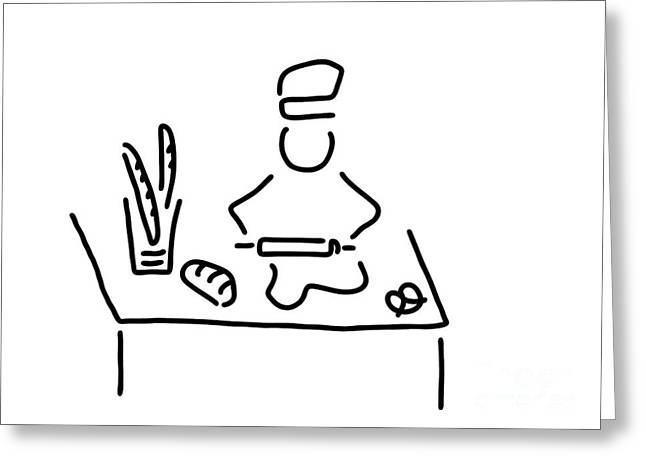 Bakers Bread Bake Greeting Card by Lineamentum