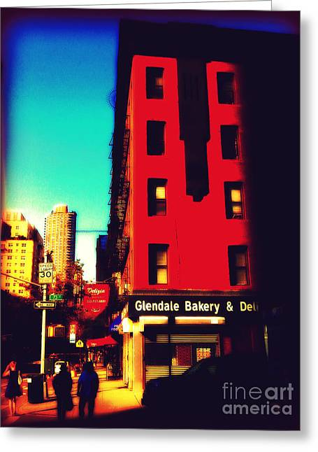Greeting Card featuring the photograph The Bakery - New York City Street Scene by Miriam Danar