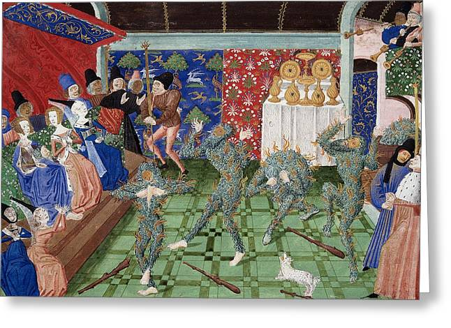 Bal Des Ardents, 1393 Greeting Card by British Library