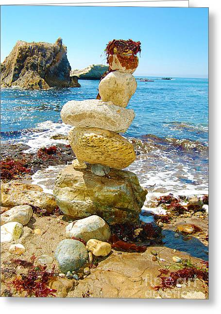 Balanced Beach Rock Stack Greeting Card