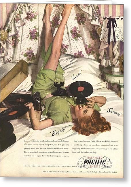 Balanced Pacific Sheets 1940s Usa Greeting Card by The Advertising Archives