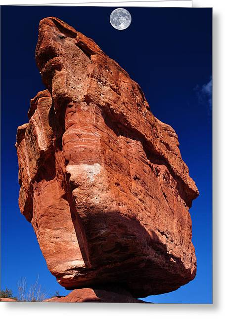 Balanced Rock At Garden Of The Gods With Moon Greeting Card