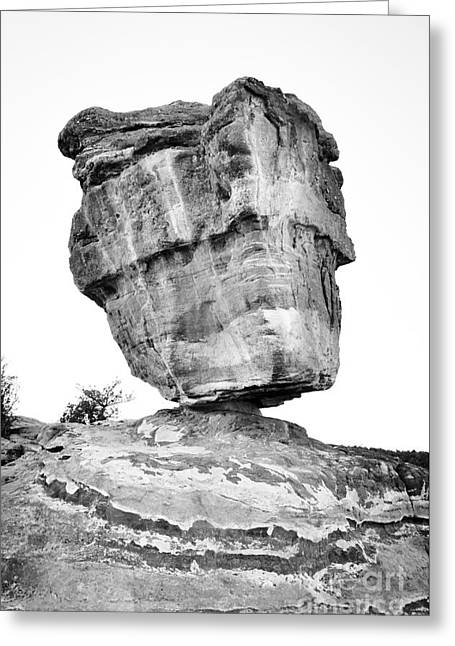 Balanced Rock In Black And White Greeting Card