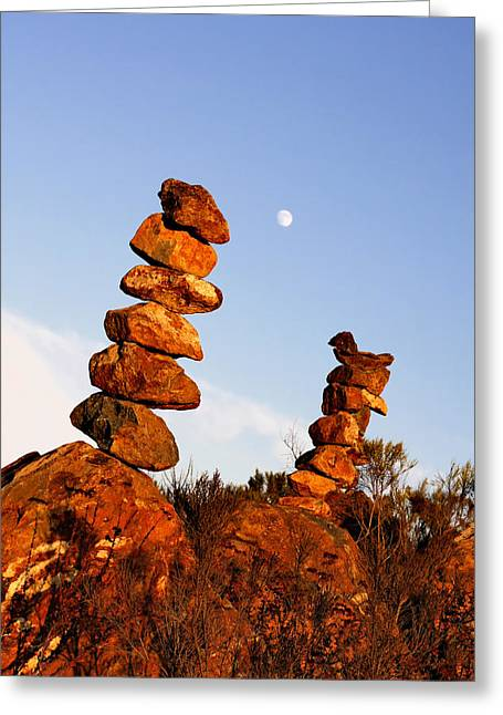 Balanced Rock Piles Greeting Card by Christine Till
