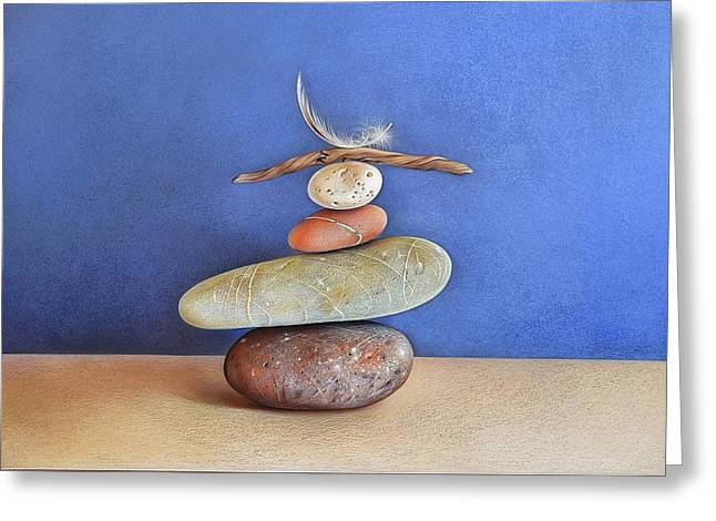 Balancing Act Greeting Card by Elena Kolotusha