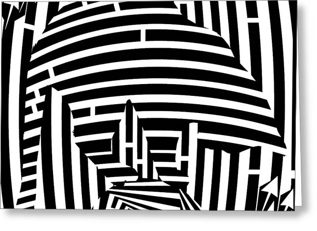 Balancing Cat Maze Greeting Card by Yonatan Frimer Maze Artist